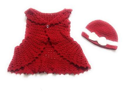 New Jain Traders - Combo of Hand Made Crochet Woolen Designer Jacket   Cap  for Baby Girls (6-12 Months 99e26fc78d83
