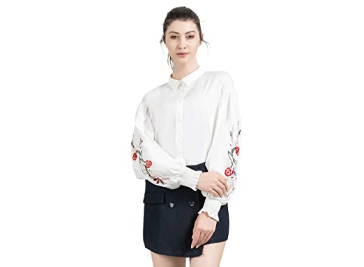 b2073bc5f2a04e LAIZI Women s Puff Sleeve Embroidery Button Down Shirt Cotton Blouse Casual Shirts  Tops (White