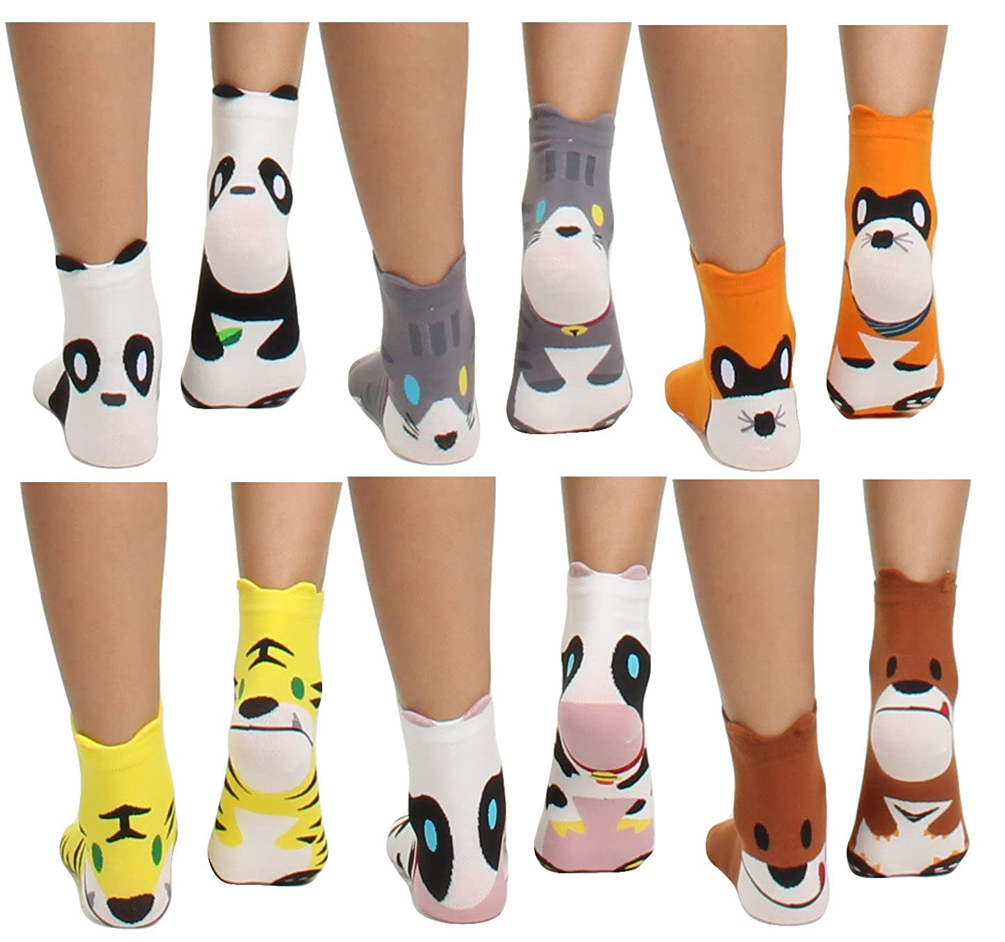 Cow GILBIN'S Womens Girls Cute Casual Comfortable Cotton Animal Print Novelty Socks (6 Pack)