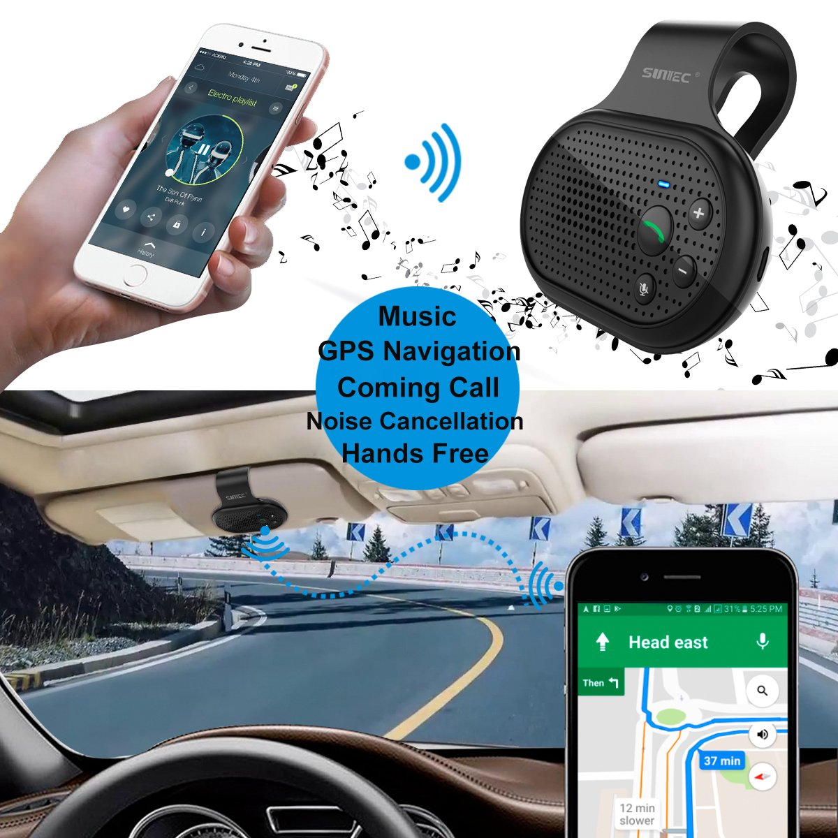 Bluetooth Hands Free Car Speakerphone, SUNITEC Bluetooth Visor Car Kit In-Car Phone Speaker AUTO POWER ON Support GPS, Music and HandsFree Calling for iphone, Samsung and Smartphones [2 Year Warranty] by Sunitec (Image #6)