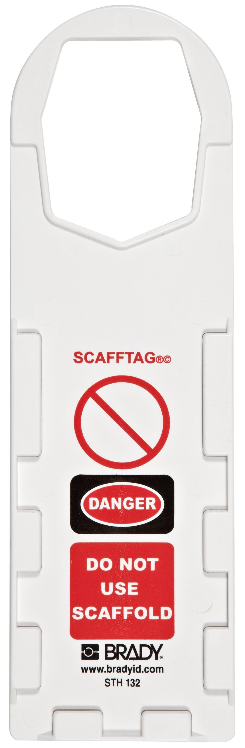 Brady SCAF-STH132 Plastic, 11-3/4'' Height, 3-1/2'' Width, White Color Scafftag Holders, Front Legend ''Danger, Do Not Use Scaffold'' (Pack Of 10)