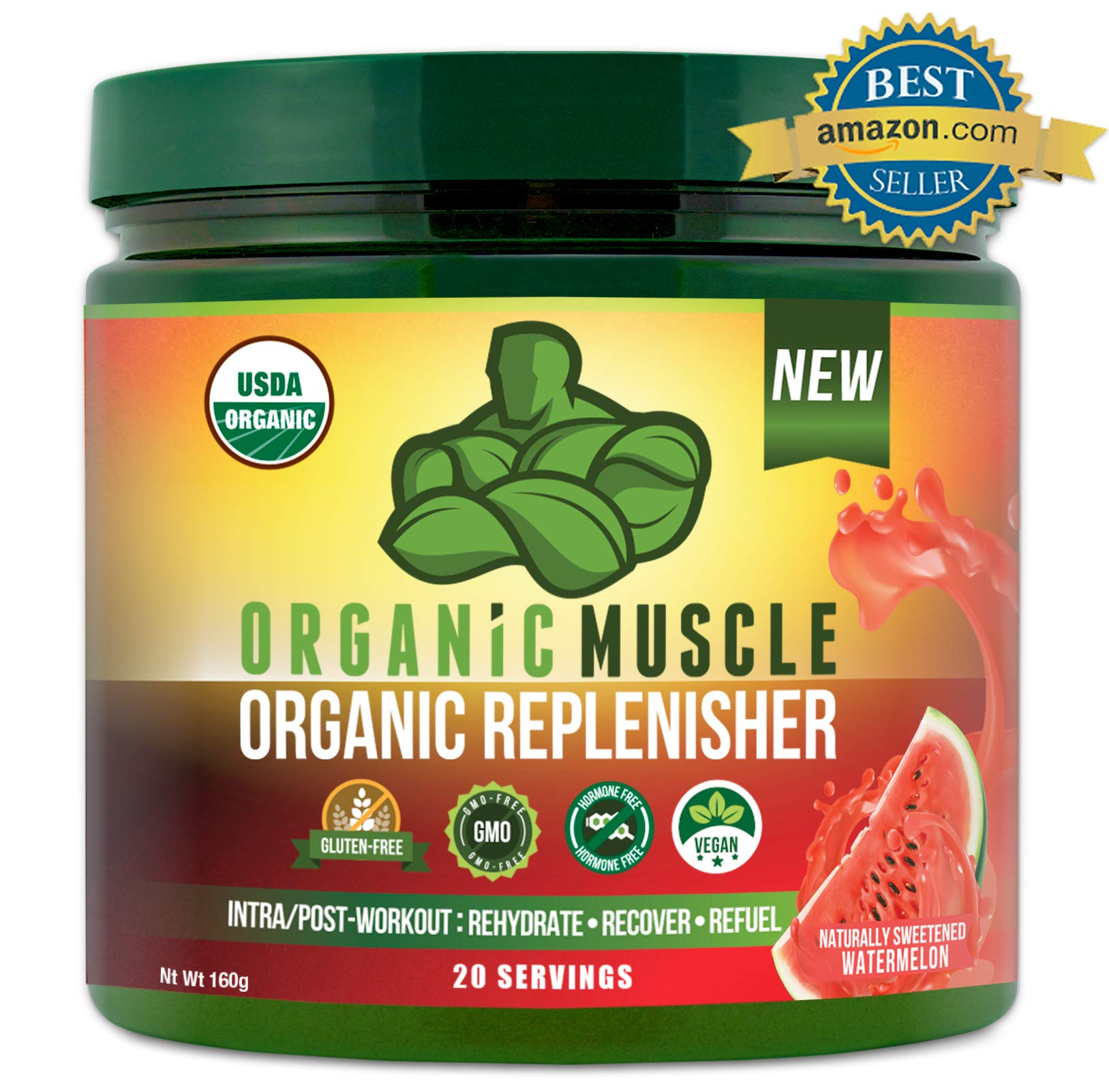 Organic Replenisher Electrolyte Powder- Organic Post Workout & Intra-Workout Vegan Recovery Drink. Max Hydration w/Coconut Water, Mineral Salts, More. Non-GMO - Watermelon Flavor - ORGANIC MUSCLE by Organic Muscle