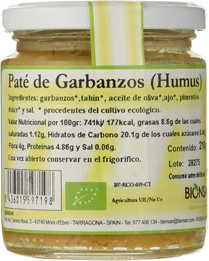 Bionsan Pate de Garbanzos Humus - 6 Paquetes de 210 gr ...
