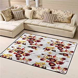 Indoor Outdoor Carpet Flowers Soft Indoor Mat Decorative Carpet Seamless Floral Design 5' x 7' Rectangle