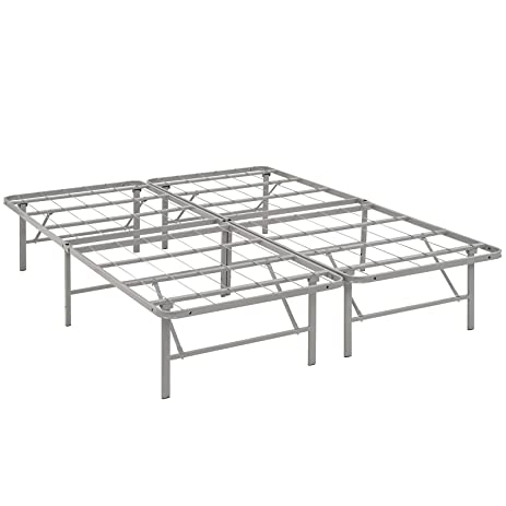 modway horizon queen bed frame in gray replaces box spring folding portable metal mattress