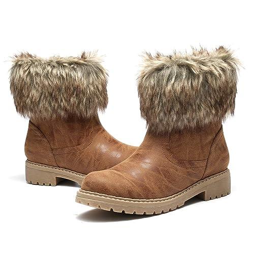 f64d84f03 gracosy Botas de Piel de Mujer 2019 Botas de Nieve Cuero Botines Zapatos  Calientes Talón Plano