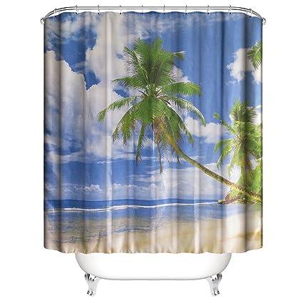 Coconut Shower Curtains Set Ocean Tropical Coast Beach Sea Bathroom Fabric Curtain Palm