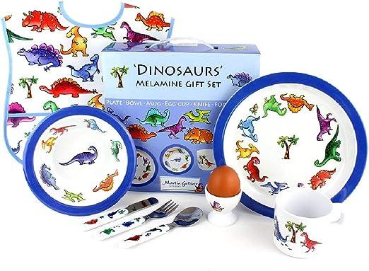 Martin Gulliver Designs Geschenkset Dinosaurier 7-teilig Melamin