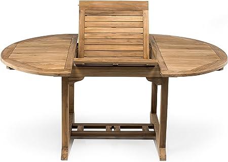 Offerte Tavoli Da Giardino In Teak.S R Tavolo Da Esterno In Vero Teak Rotondo Allungabile A 180 Cm