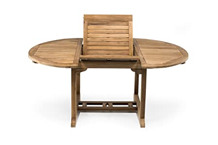 RS Mesa de Exterior en Teca, Redonda Extensible a 180 cm – Muebles ...