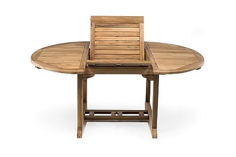 Tavolo da esterno in VERO Teak, rotondo allungabile a 180 cm ...