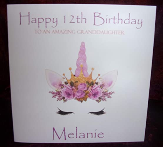 personalised unicorn birthday card any age name and relation 1st 2nd