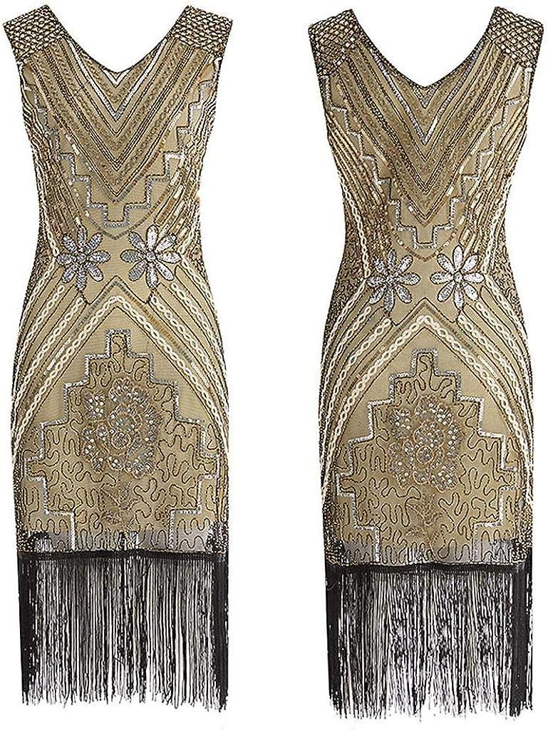 Vintage Ideale per Feste e Cocktail SHOBDW Taglie Forti Anni 20 con Nappa Senza Maniche con Paillettes Vestito da Donna alla Moda da Donna