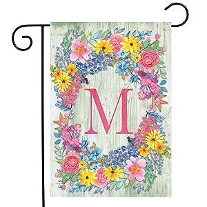"Briarwood Lane Spring Monogram Letter M Garden Flag Floral Wreath 12.5"" x 18"""