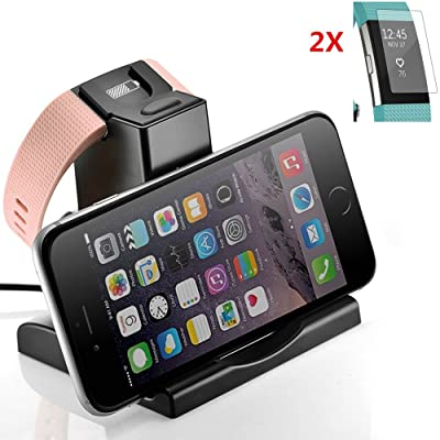 Elecguru Fitbit Charge 2en 1station de support pour téléphone portable et chargeur 2+ 2packs Fitbit Charge 2protecteur d'écran HD Effacer Anti-scracth pour Fitbit Charge 2&nb