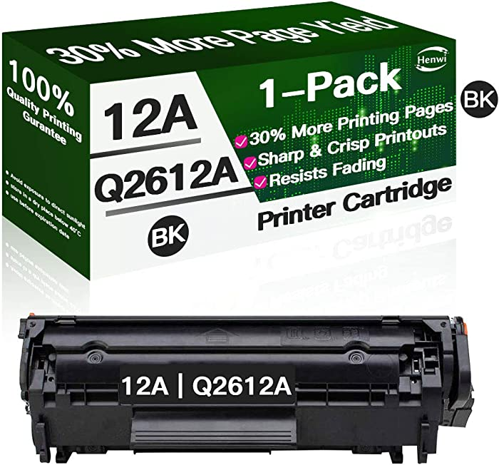 Henwi Toner Cartridge Replacement for HP 12A Q2612A use with HP Laserjet 1012 1018 1020 1022 3015 3020 3030 3050 3052 3055 M1319 Printer (Black)