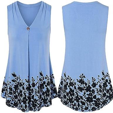 472e3b26ecd Wanshop Women Ladies Floral Printing Loose Sleeveless Tank Top Vest Layed  Summer Casual V-Neck