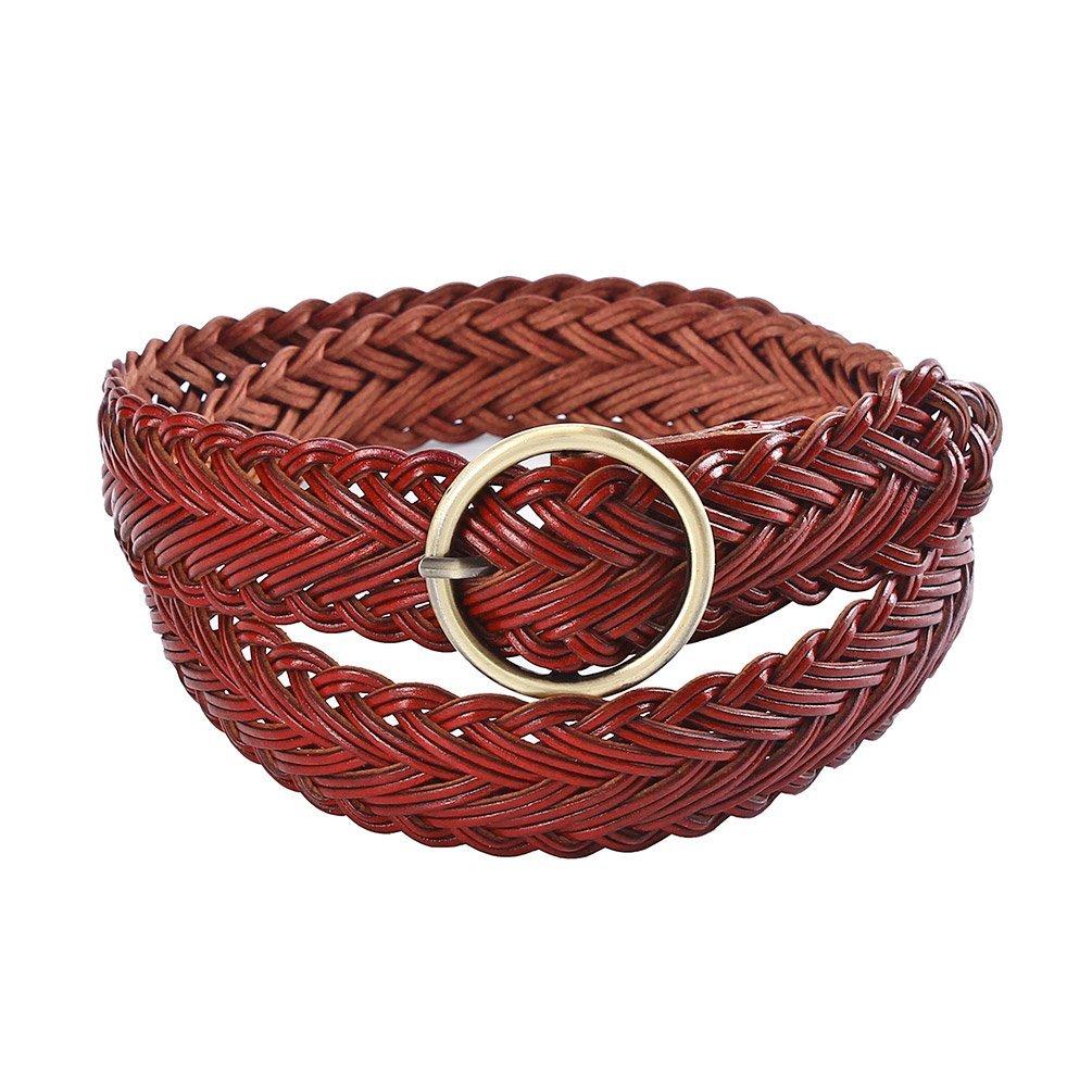 Damara Womens Wide Retro Round Buckle Weaving Braided Belt, Apricot