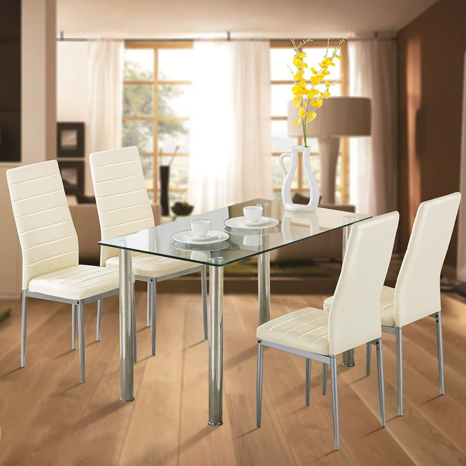Amazon 5pc Glass Dining Table with 4 Chairs Set Glass Metal