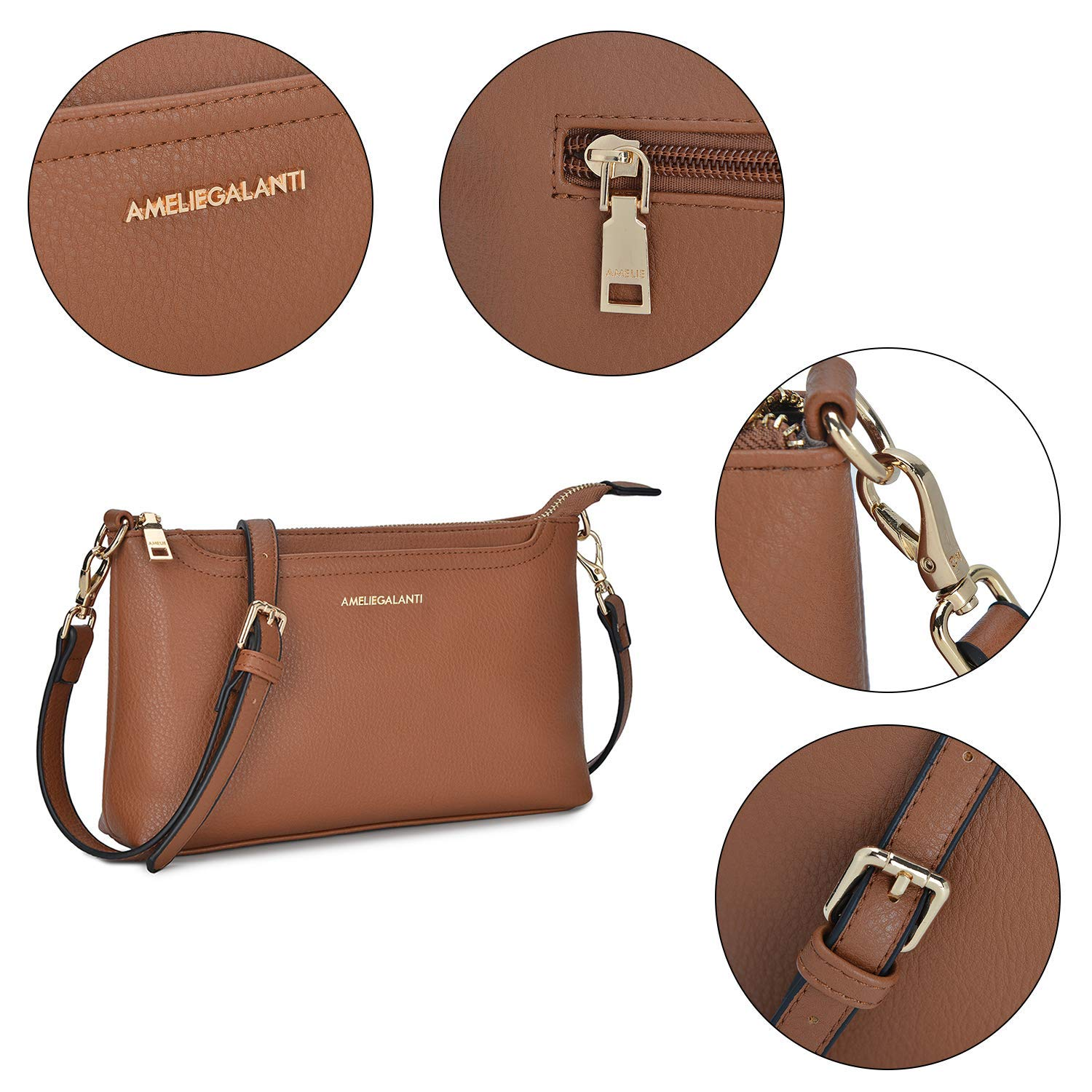 Small Shoulder Bags Zip Crossbody Bags Satchel for Women Purse by AMELIE GALANTI (Image #4)