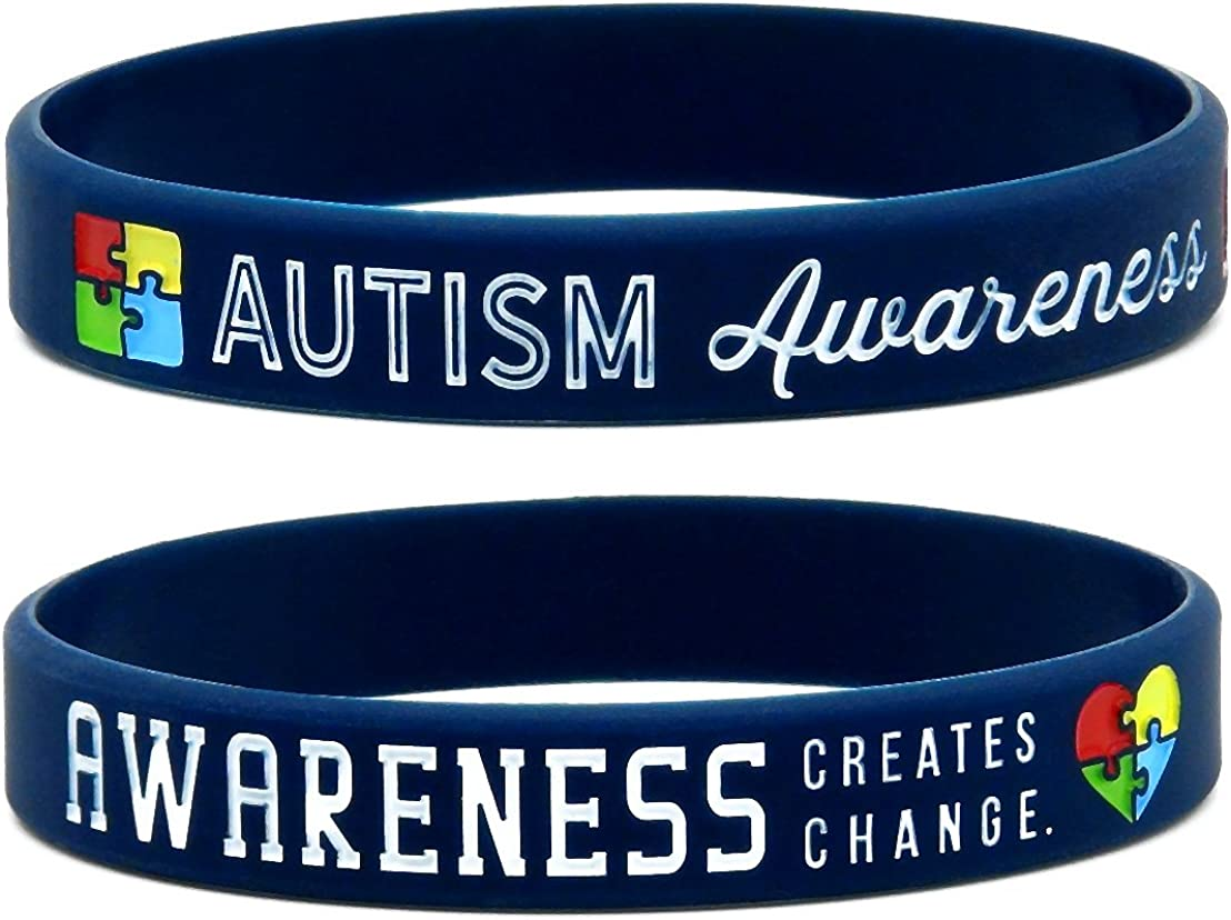 Forge Light Blue Puzzle Piece Autism Awareness Silicone Bracelet Wristbands