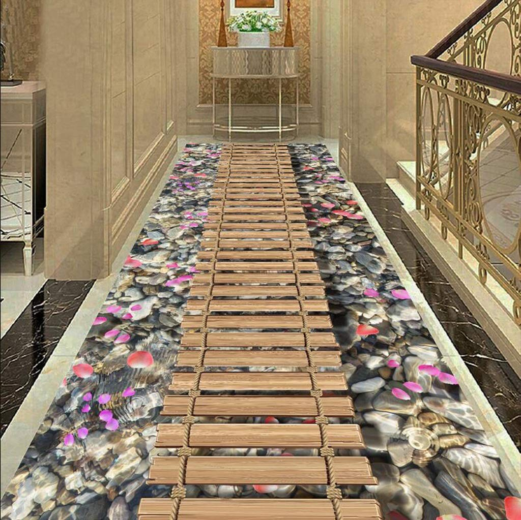 Mbd 3D Floor Mat Corridor Aisle Consumer and Commercial Strip Carpet Bedroom Kitchen Mat (Color : A, Size : 1.26m)