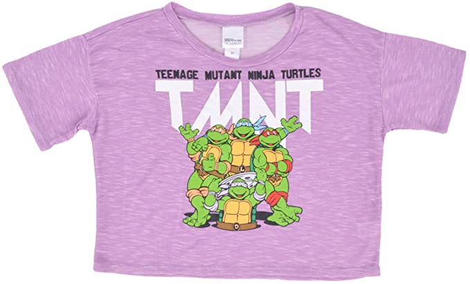 ed6b2bbb6 Teenage Mutant Ninja Turtles Crop Top Purple Juniors TMNT Midriff Top at  Amazon Women's Clothing store: