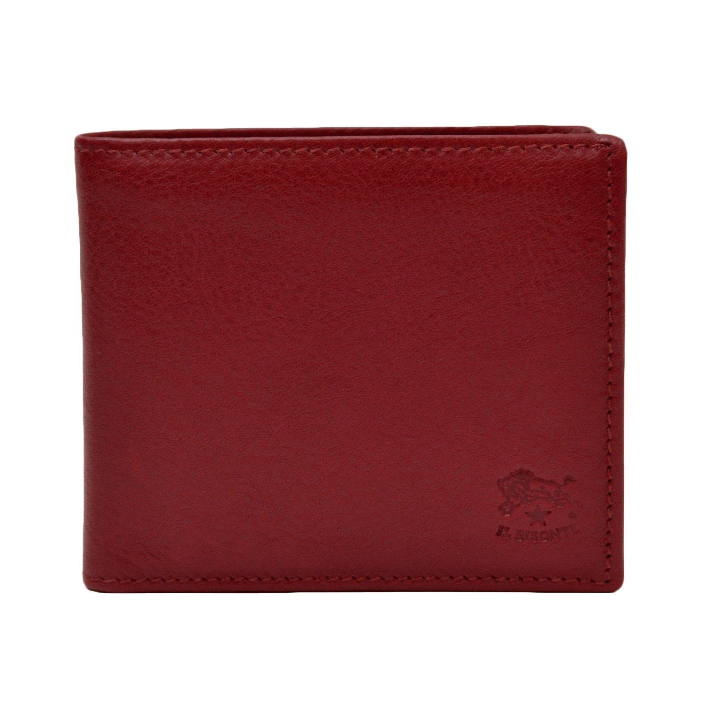 (イルビゾンテ) IL BISONTE 本革 二つ折り財布 [ 純正保存袋付き ] イタリア製 メンズ レザー ウォレット 財布 札入れ 小銭入れ B01LW39S11 レッド レッド -