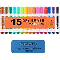 15-Pack Shuttle Art Chisel Tip Dry Erase Markers with Eraser