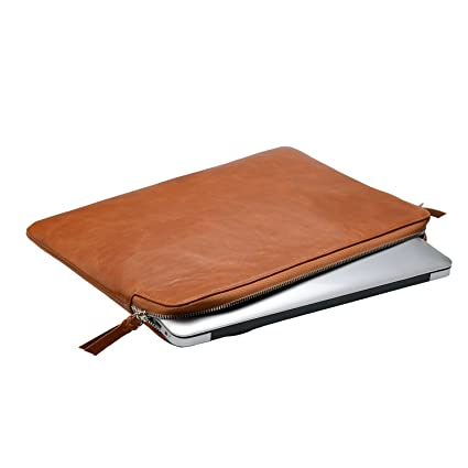 check out 2f676 cfbcf Leather Laptop Sleeve 13 inch, Leather Laptop Sleeve Case with Zipper for  13.5 inch Surface Book/ 13.3 MacBook Air/Pro