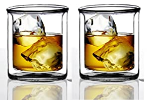 Sun's Tea Strong Double Wall Manhattan Style Old-fashioned Whiskey Glasses/Classic Scotch Whiskey Glasses/Vodka Rocks Glasses/Lowball Glasses for Liquor (9 Ounce, Set of 2)