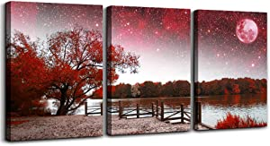 Wall Art Decor Poster Living Room abstract Red Tree Moon Starry Sky red Landscape Painting Bathroom Wall Art Bedroom Canvas Prints 3 Pieces Picture Works Ready to Hang Office Home decoration Artwork