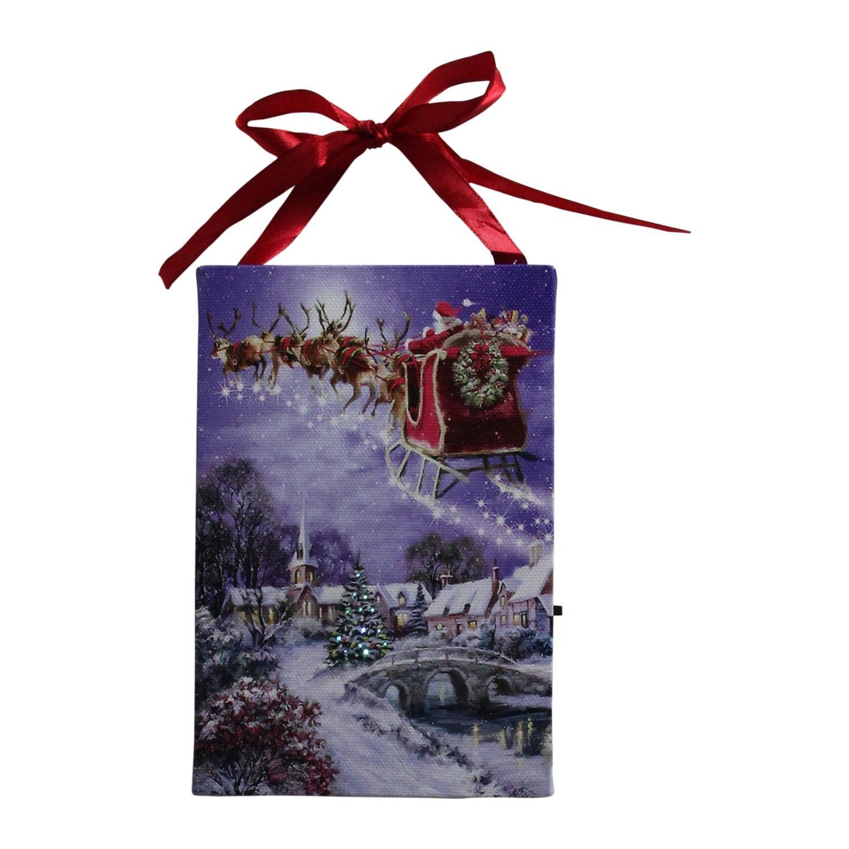 Northlight 6'' LED Fiber Optic Christmas Tree and Santa Sleigh Wall Art Decoration