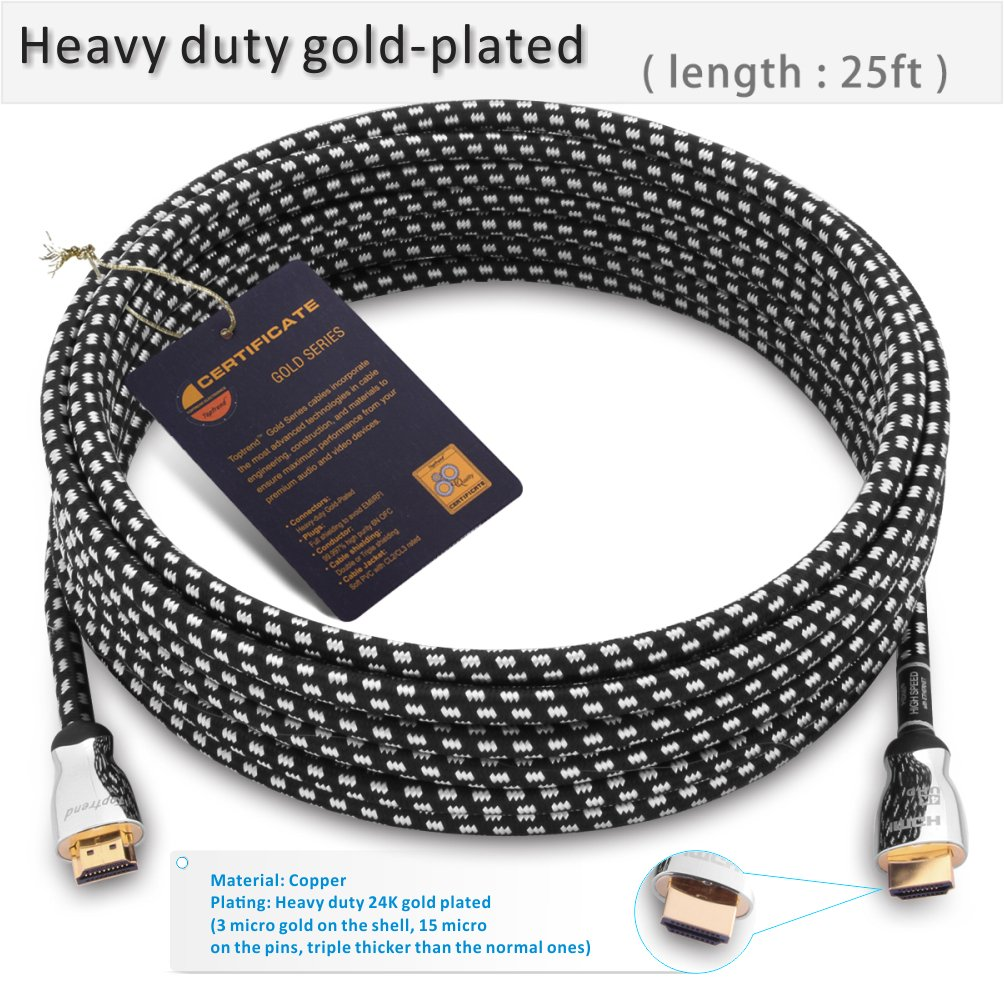 Blue-ray player HDR 2160p 4K UHD PS3 4K HDMI cable 3ft -HDMI 2.0 cord supports 1080p Ethernet and Audio Return -CL3 for in-wall installation -28AWG braided for HDTV PC PS4 3D Xbox Apple TV