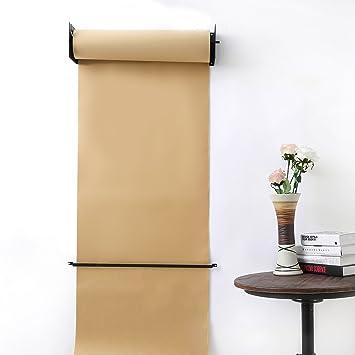 Rollo de papel Kraft reutilizable montado en la pared Papel Kraft Rollo de papel Dispensador de papel para el hogar Oficina Restaurante CafeterÃa y Etc: ...