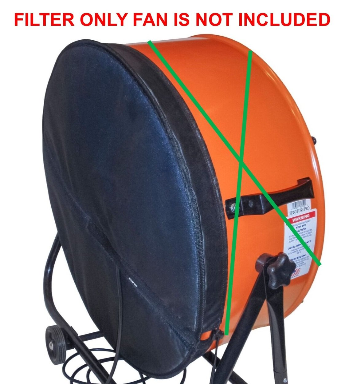 Washable Fan Filter - Made for 24'' Industrial Drum Fans. FILTER ONLY, fan not included.