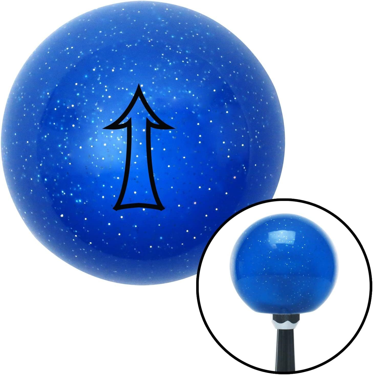 Black Fancy Outlined Directional Arrow Up American Shifter 22072 Blue Metal Flake Shift Knob with 16mm x 1.5 Insert
