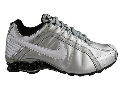 bc0733eb51 Amazon.com | Nike Womens Shox Junior Metallic Silver/White-Black (7 ...