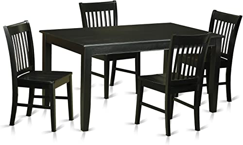 DUNO5-BLK-W 5 PC dinette set-Dinette Table and 4 Dining Chairs