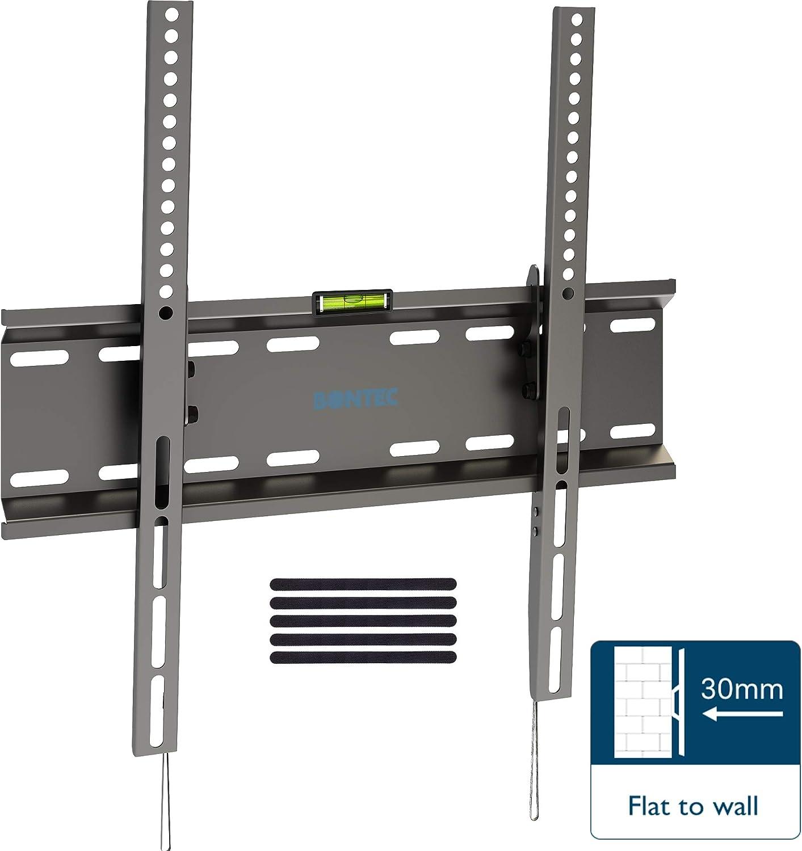 5 Sangles Velcro Compris Mat/ériel de Fixation Bontec Support Murale /à Inclinaison Ultra Mince pour TVs LCD LED 3D PLASMA de 23 /à 55 Pouces /à VESA 400x400 mm Maximal 45 kg Niveau /à Bulle