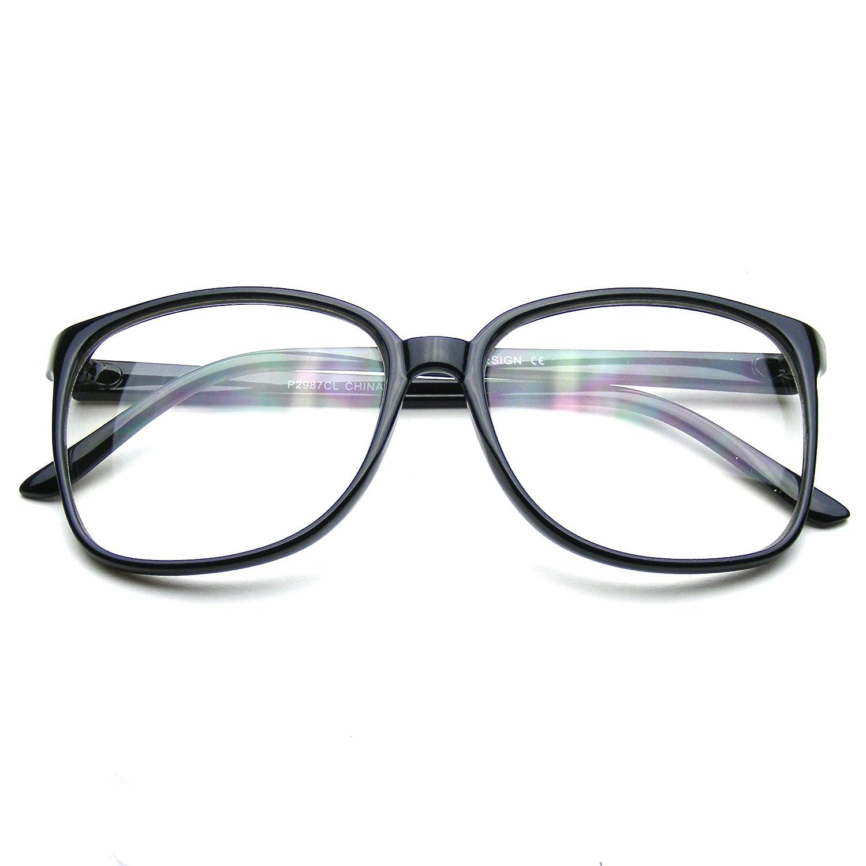 73842f5fe98 Large Oversized Glasses Clear Lens Thin Frame Nerd Glasses (Black)   Amazon.co.uk  Clothing