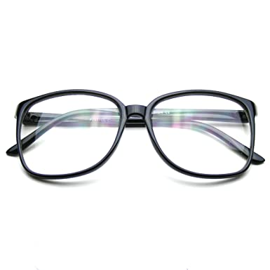 ade457cbba Large Oversized Glasses Clear Lens Thin Frame Nerd Glasses (Black)   Amazon.co.uk  Clothing
