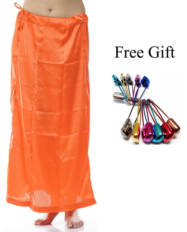Odishabazaar Women Petticoat peticoat Sari Saree Underskirt Satin Bollywood Saree Skirt + Free Sari Pin (#7) by Odishabazaar (Image #1)