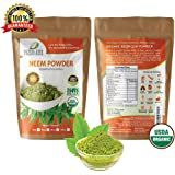 Neem Organic Leaf Powder 2oz Non GMO supplements for glowing skin, hair, nails, supports digestion, anti-oxidant, supports healthy blood sugar, cholesterol, more