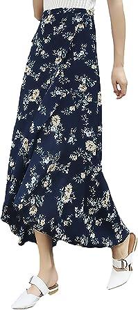 Mujer Faldas Largas Elegante con Cordones con Volantes Chiffon ...
