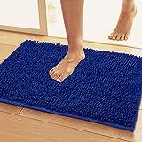 Lukzer 1 PC Chenille Microfiber Bath Mat for Bathroom Soft Door Mat Blue 80 cm x 50 cm