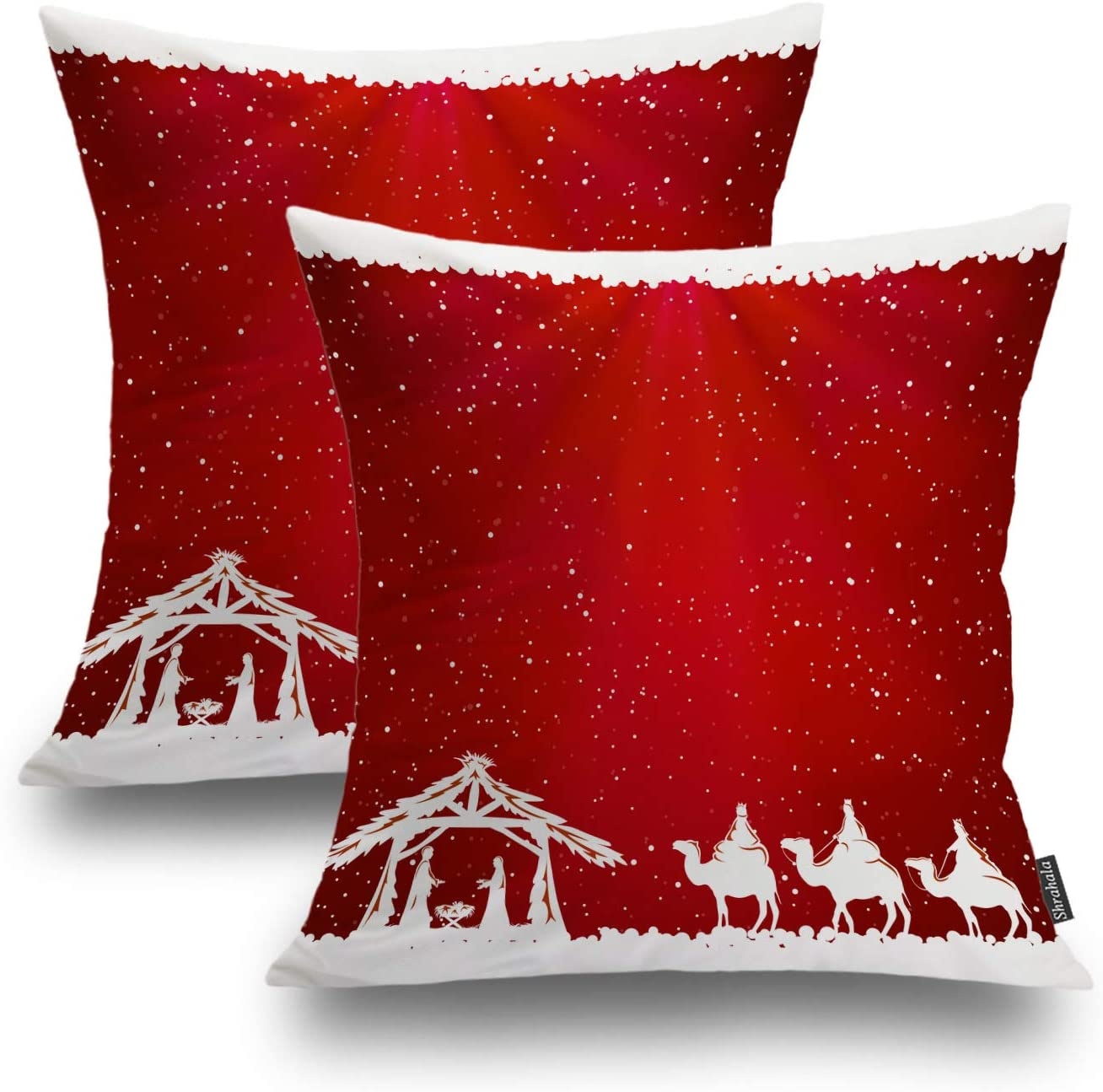 Shrahala Christmas Pillow Covers, Decorative Pillowcases Christian Christmas Nativity Jesus Religious Cushion Case for Sofa Bedroom Car Throw Pillow Covers Square 18 x 18 Inches Red, Set of 2