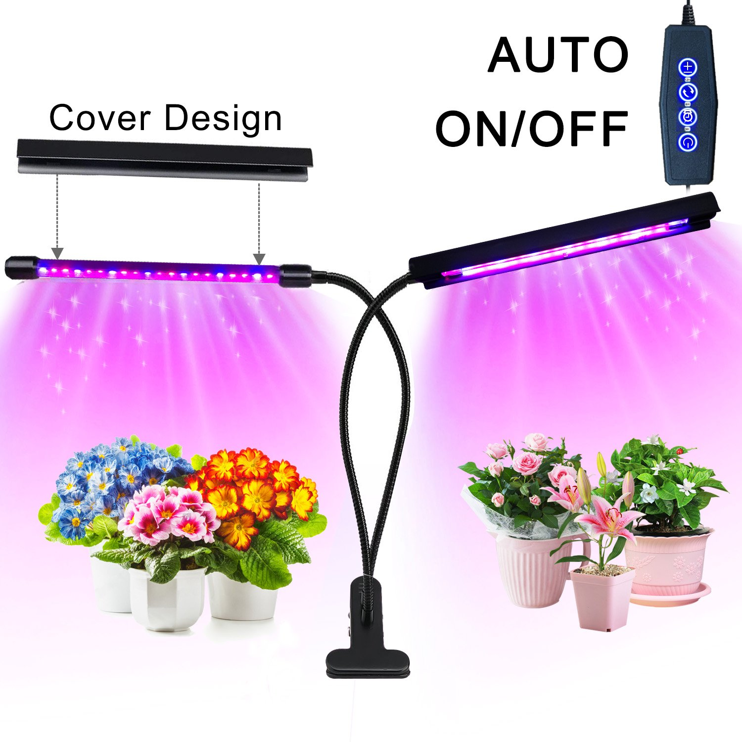Grow Light, 20W 40 LED Auto ON/OFF Plant Grow Lamp Dual Head Timing Grow Light for Indoor Plants Seed Starting with Red/Blue Spectrum Adjustable Gooseneck 3/6/12H Timer 5 Dimmable Levels by Eleclist