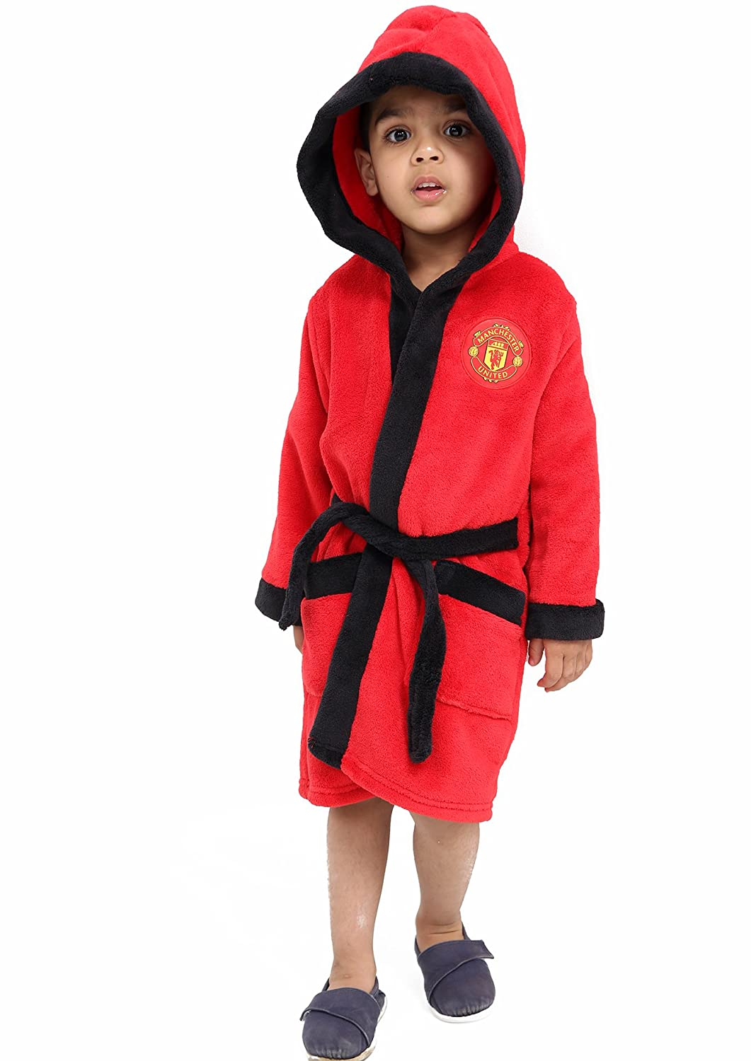 F4S® Boy's Manchester United Football Club Soft Fleece Dressing Gown Bath Robe Ages 3-12