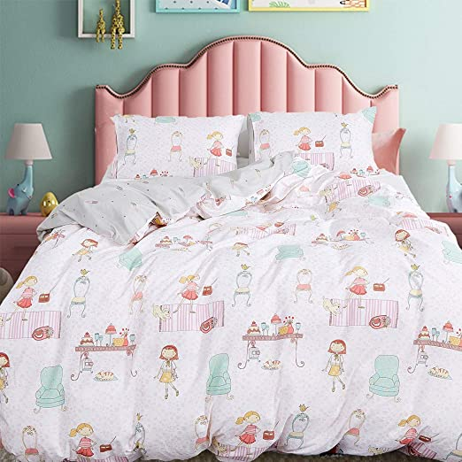 Amazon.com: CLOTHKNOW Girls Duvet Cover Sets Twin Cotton Pink